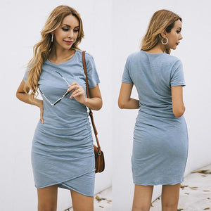 T-Shirt Dress with Cross Over Hem