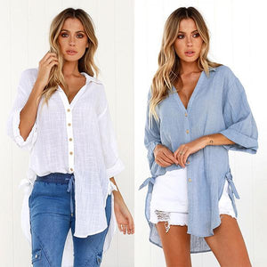 Oversized Casual Shirt with Tie Sides
