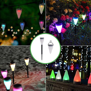 2 in 1 Solar-Powered Color Changing Garden LED Lantern Light