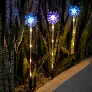 Solar-Powered Color Changing LED Dandelion 3 Piece Stake Set