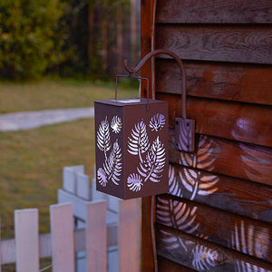Solar-Powered Iron LED Leaf Lantern