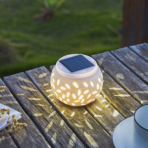 Solar-Powered LED Ceramic Lamp