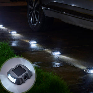 2 Pcs Heavy-Duty Solar-Powered LED Driveway Lights