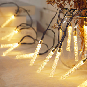 Solar-Powered LED Icicle Tube Lights