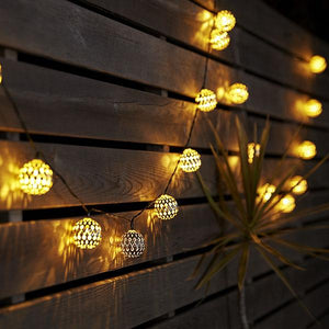 Solar-Powered LED Metal Decoration Ball String Lights