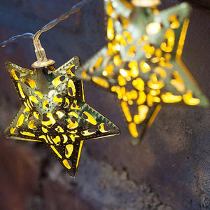 Solar-Powered LED Metal Stars String Light