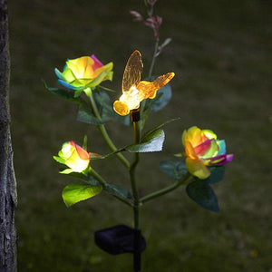 Solar-Powered LED Rainbow Rose Stake Light