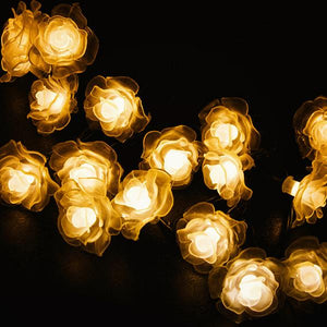 Solar-Powered LED Rose String Lights