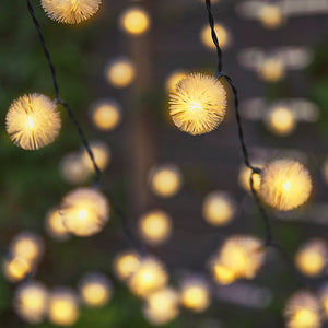Solar-Powered Warm-White Dandelion LED String Lights