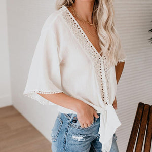 V Neck Crochet Lace Top with Waist Tie