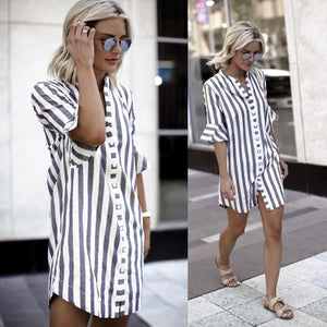 Vertical Striped Button Shirt Dress