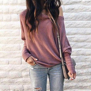 Off-Shoulder Slouchy Knit Sweater