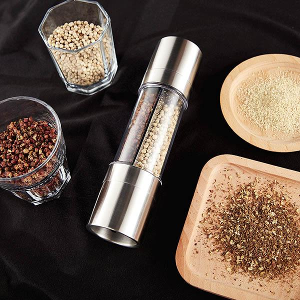 2 in 1 - Stainless Steel Pepper Mill & Salt Grinder