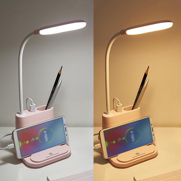 LED Desk Lamp w/ USB Charging Port & Pen Holder