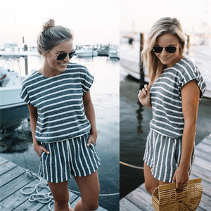 Slouchy Striped Playsuit