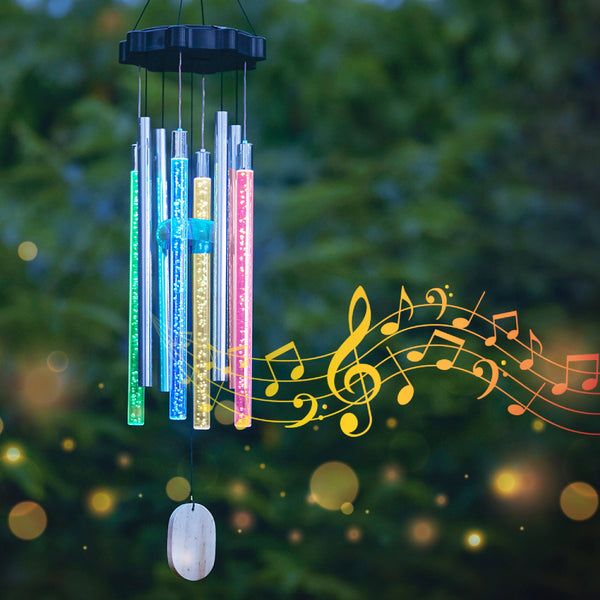 Solar-Powered Colorful Wind Chime Light