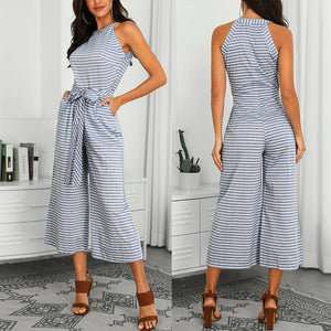 Striped Crop Jumpsuit with Tie-Waist Belt