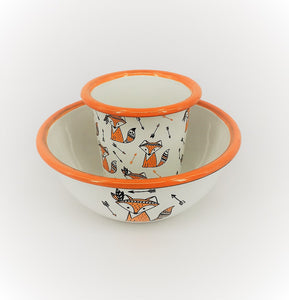 Enamel Bowl and Tumbler - Cute foxes