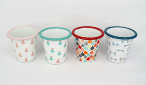 Enamel Tumblers, mixed designs - Set of 6