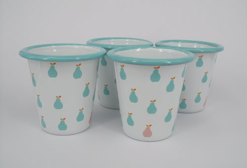 Enamel Tumblers - Aqua Pear Design - Set of 4