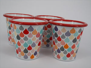 Enamel Tumblers - colourful raindrops - Set of 6