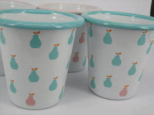Enamel Tumblers - Mixed Pear Design - Set of 4