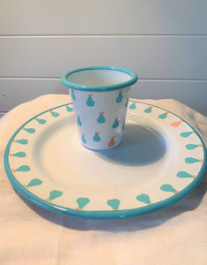 Enamel Tumbler and plate  - Aqua Pear