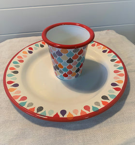 Enamel Tumbler and Plate - Raindrops