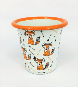 Enamel tumbler, bowl and plate - Cute Fox Set