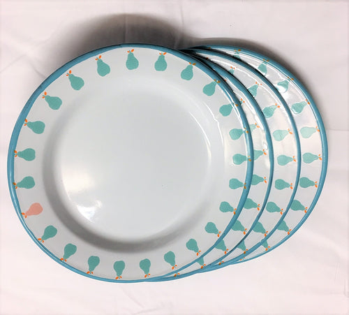 Enamel Plates - Set of 4 Aqua Pear Plates