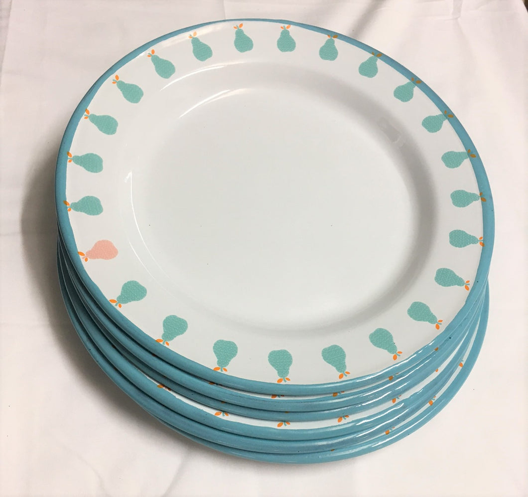 Enamel Plates - Set of 6 Aqua Pear Plates