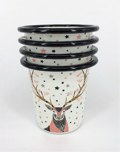 Enamel Tumblers - Set of 4 Deer