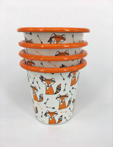 Enamel Tumbler - Set of 4 Cute foxes