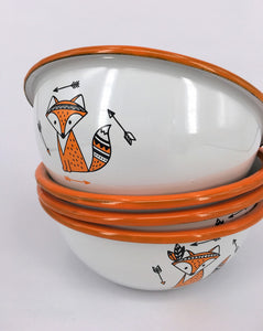 Enamel Bowls Cute Foxes - Set of 4