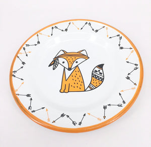 Enamel Plates - Set of 6 Cute Fox Plates