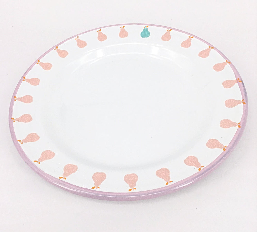 Enamel Plates - Set of 6 Pink Pear Plates