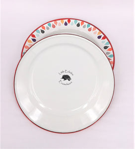 Enamel Plates - Set of 6 Colourful Raindrops