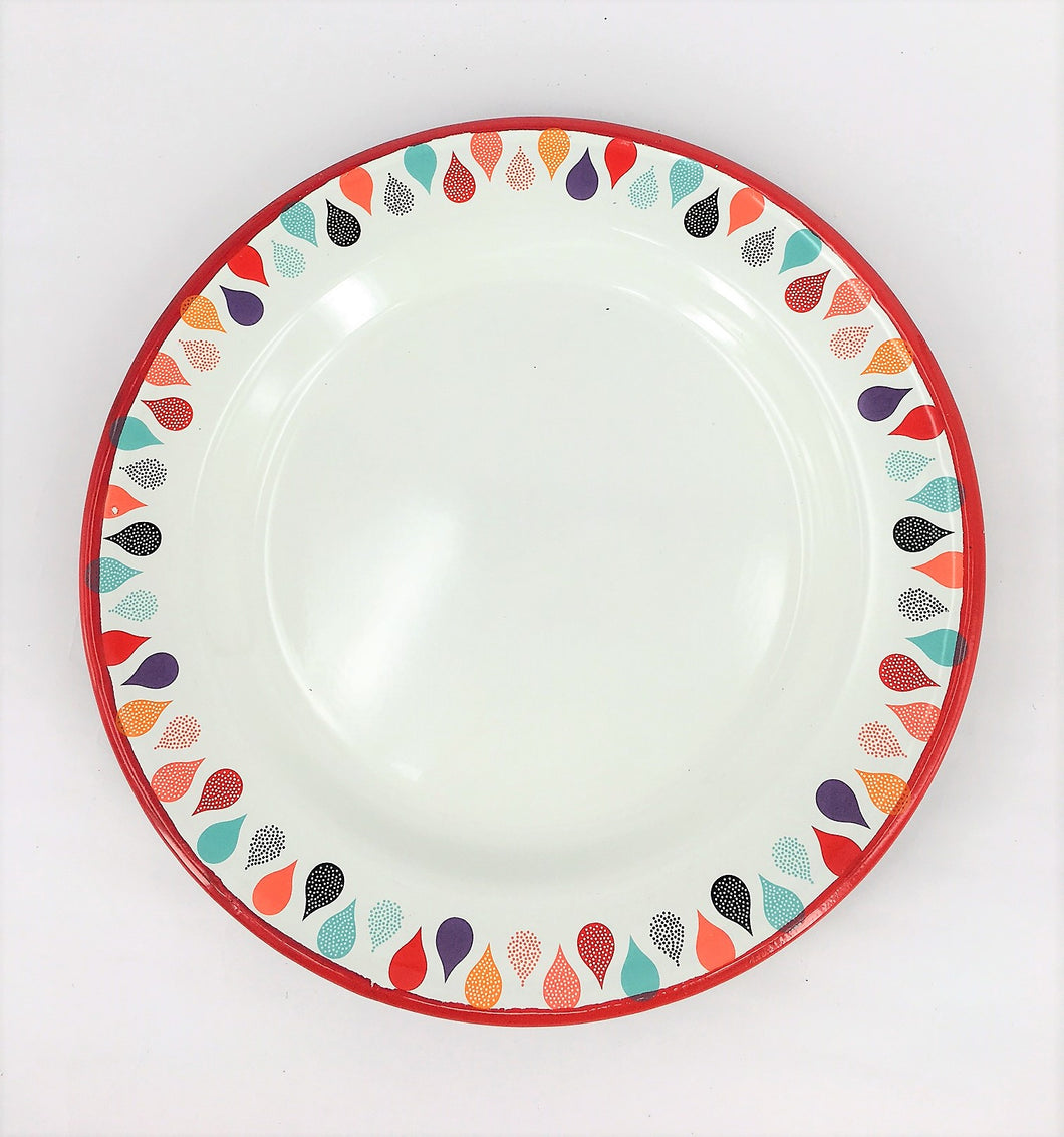 Bulk Enamel Plates - 2 x Set of 6 Colourful Raindrops (12 plates total)
