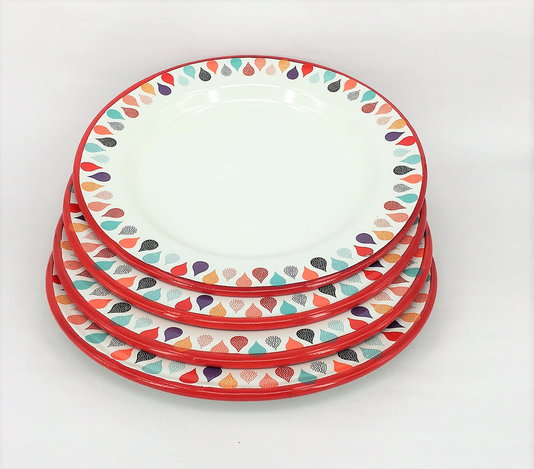 Enamel Plates - Set of 4 Colourful Raindrops