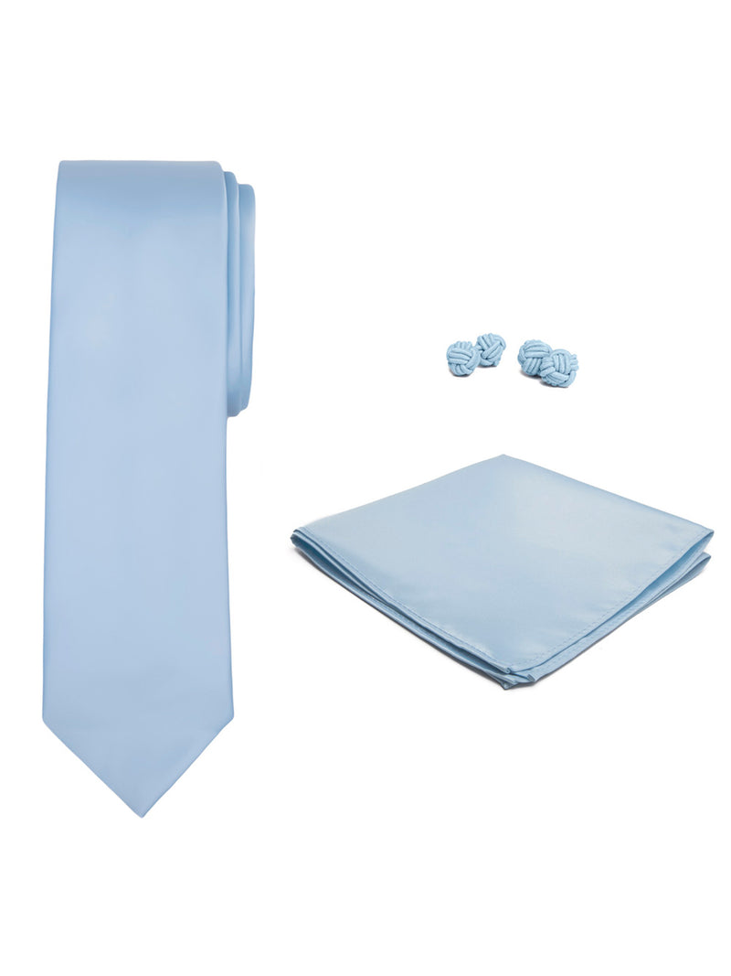 Jacob Alexander Solid Color Men's Tie Hanky and Cufflink Set - Baby Blue