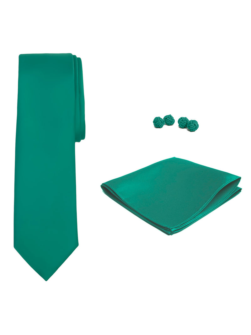 Jacob Alexander Solid Color Men's Tie Hanky and Cufflink Set - Kelly Green