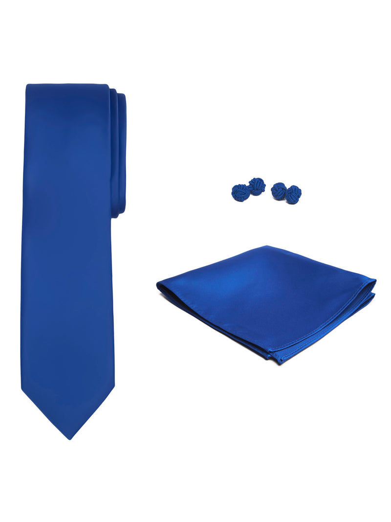 Jacob Alexander Solid Color Men's Tie Hanky and Cufflink Set - Royal Blue