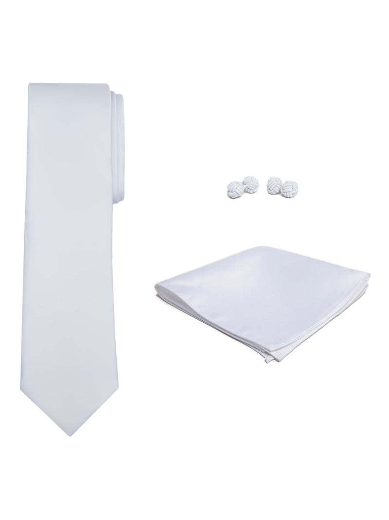 Jacob Alexander Solid Color Men's Tie Hanky and Cufflink Set - White