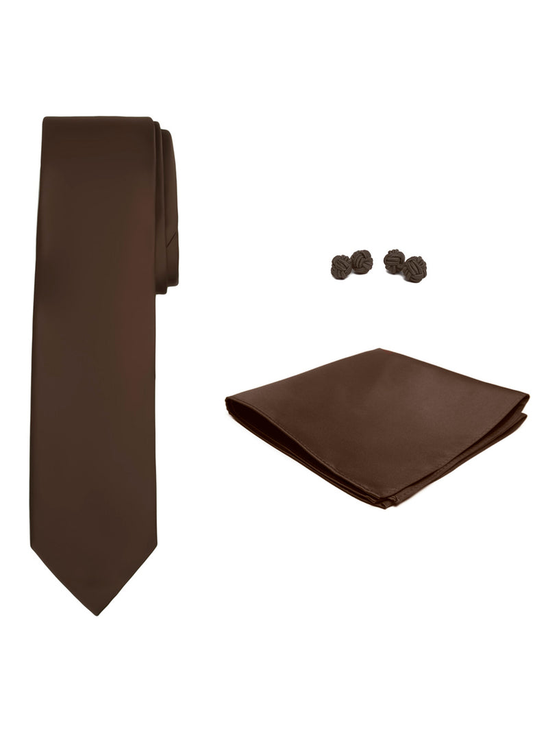 Jacob Alexander Solid Color Men's Tie Hanky and Cufflink Set - Cocoa Brown