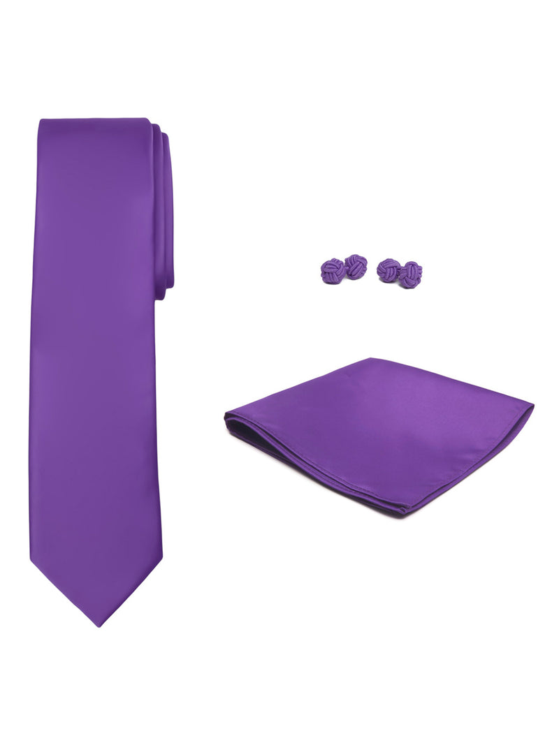Jacob Alexander Solid Color Men's Tie Hanky and Cufflink Set - Violet Purple