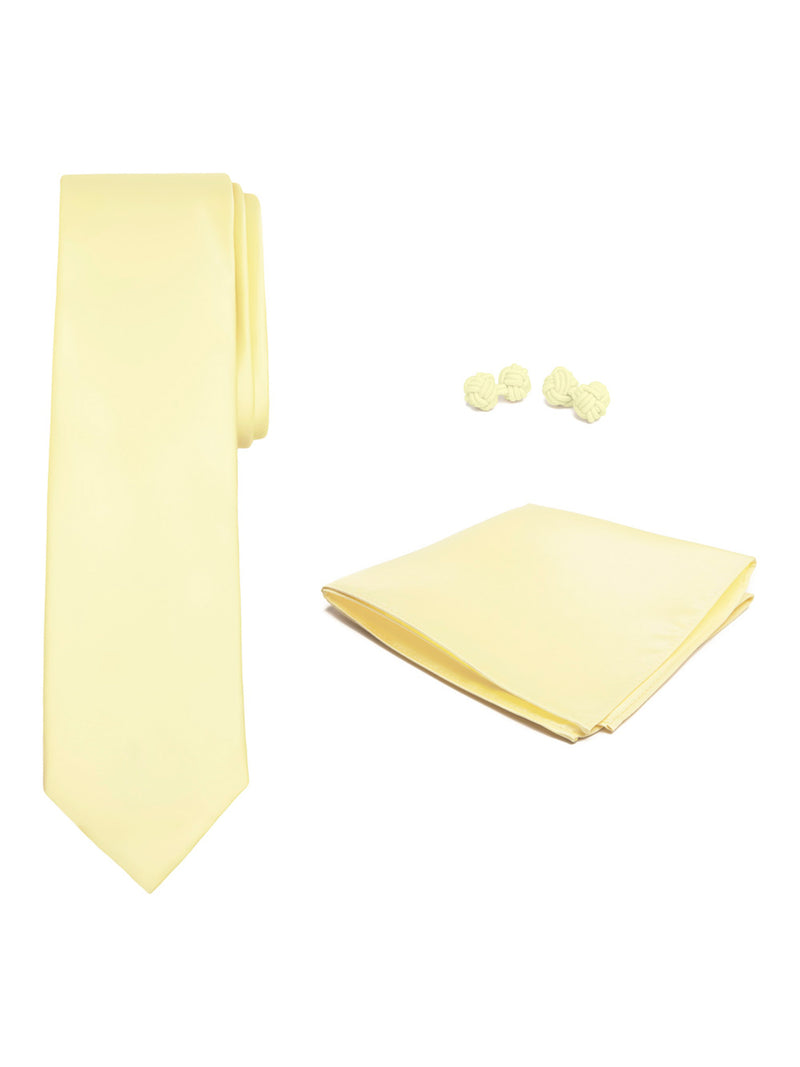 Jacob Alexander Solid Color Men's Tie Hanky and Cufflink Set - Yellow