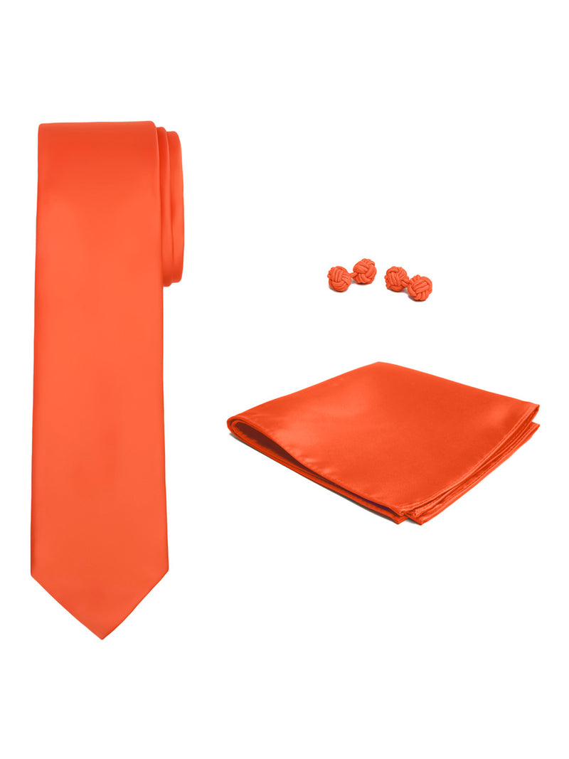 Jacob Alexander Solid Color Men's Tie Hanky and Cufflink Set - Bright Orange