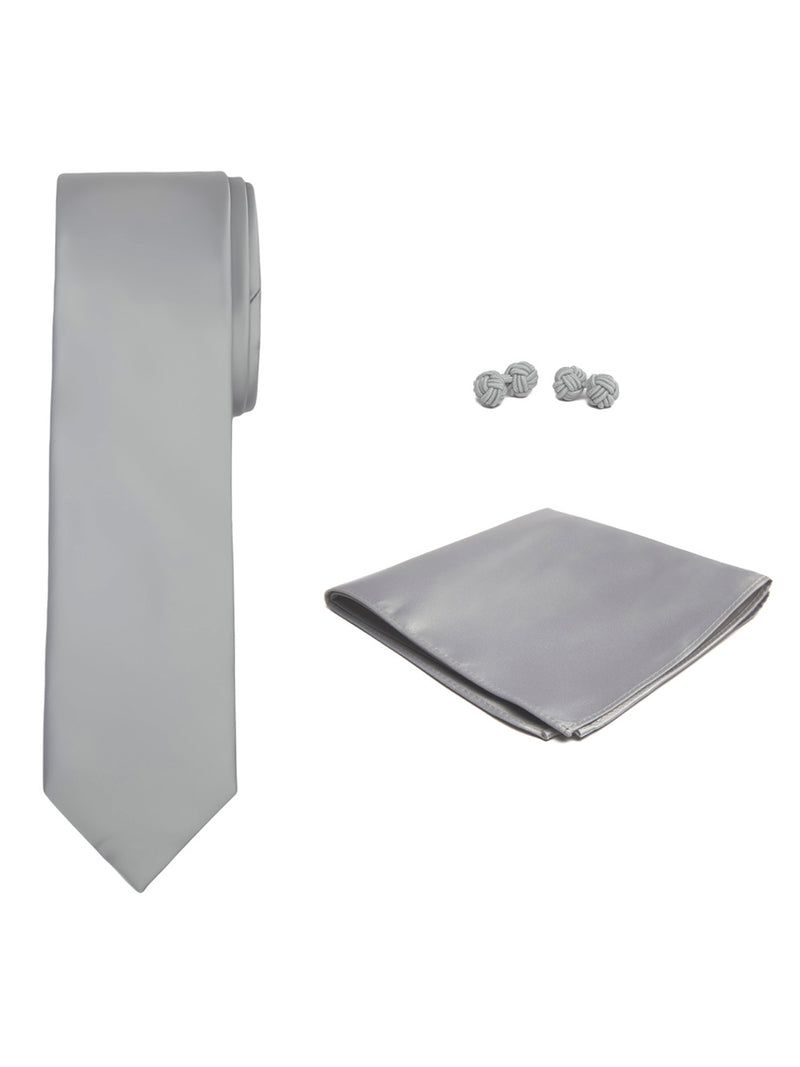 Jacob Alexander Solid Color Men's Tie Hanky and Cufflink Set - Platinum Silver