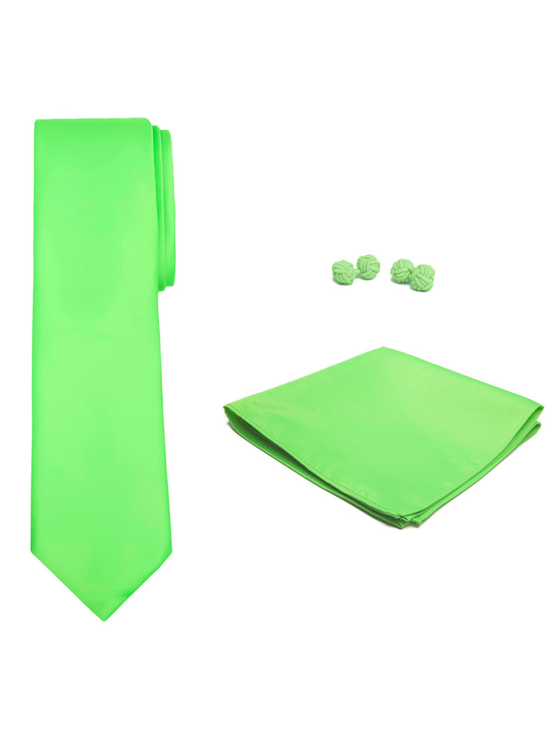 Jacob Alexander Solid Color Men's Tie Hanky and Cufflink Set - Lime Green