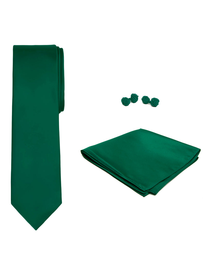 Jacob Alexander Solid Color Men's Tie Hanky and Cufflink Set - Forest Green